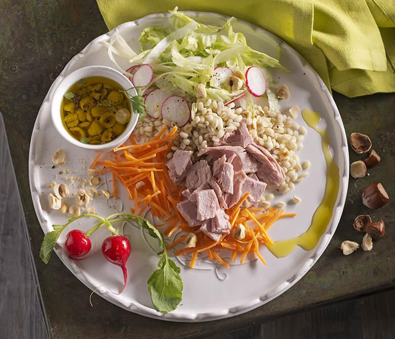 Barley Salad with Tuna, Radishes and Hazelnuts