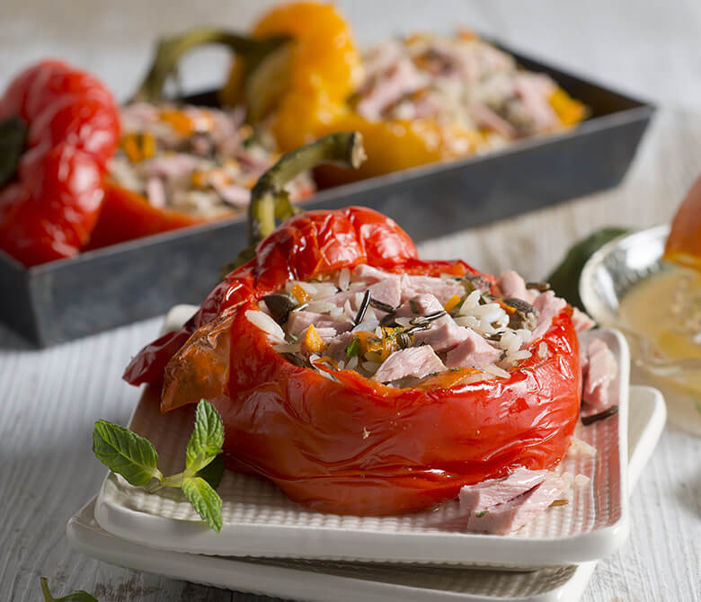 Peppers Stuffed with Wild Rice and Tuna