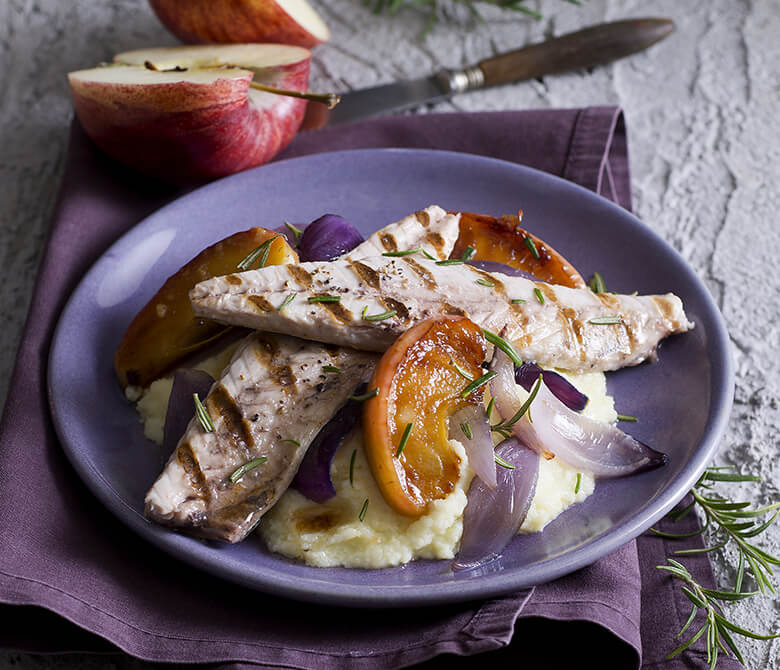 Grilled Mackerels with Potatoes, Red Onion and Caramelized Apples