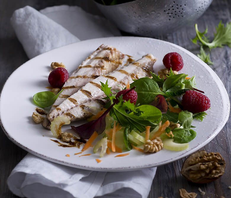 Grilled Mackerels with Raspberry Salad and Balsamic Vinegar