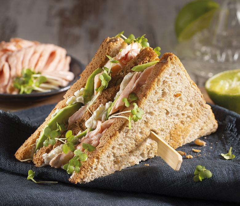 Salmon and watercress club sandwich