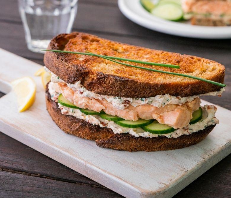 Salmon and Sun-Dried Tomato Goat Cheese Sandwich